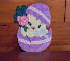Vintage Cross Stitch Easter Chick in Egg Wall Hanging by JenuineCollection on Etsy