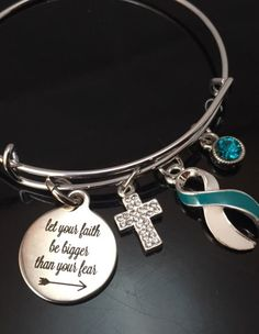 Pick Your Ribbon - Let Your Faith be Bigger than Your Fear / Charm Bracelet - rockyourcausejewelry.com Teal and White Ribbon, Cervical Cancer awareness, cervical cancer survivor - Teal Ribbon,hysterectomy gift,  Interstitial Cystitis and Bladder Pain Syndrome, Marker X Syndrome, Martin-Bell Syndrome, Myasthenia Gravis awareness, Obsessive Compulsive Disorder (OCD), Ovarian Cancer survivor awareness, Panic Disorder, Polycystic Ovarian Syndrome PCOS awareness and support, Polycystic Kidney…