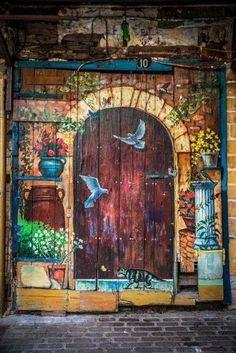 Sooo wish I could paint this on one of my barn Flower pots, birds, greens, cat, column: a person who has everything's doorway. Cool Doors, Unique Doors, The Doors, Windows And Doors, Door Knockers, Door Knobs, When One Door Closes, Door Gate, Painted Doors