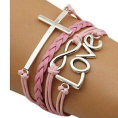 # jeansian #Women's #Endless #Love #Cross #Symbol #Combination #Woven #Bracelet #WCE003