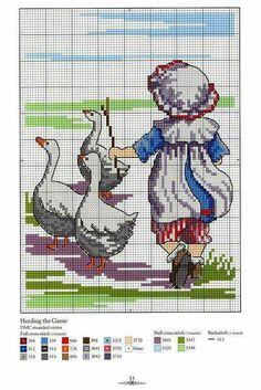 Niña y patos