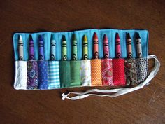 crayon pouch, crayon roll, patchwork crayon, crayon carrier, crayons
