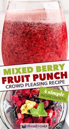 Delicious and refreshing fizzy fruit punch that is great for any party. Uses just 4 ingredients, and is easy to make alcoholic if you want! #punch #fruit #mixedberry #berry #party #drink #beverage #summer Easy Drink Recipes, Punch Recipes, Smoothie Recipes, Sweet Recipes, Smoothies, Berry Punch, Fruit Punch, Summer Grilling Recipes, Spring Recipes