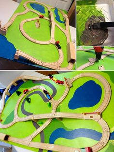 DIY Train Board @ preparingforpeanut.com (instructions for screwing in the track)
