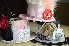 fun party idea. cheap hats with deco. could make centerpieces all different