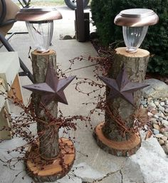 What can you do with fallen trees/branches? Rustic pillars.  Christmas decor, outdoor decoration.  Solar lights
