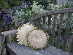 Sunflower seed heads as pillows.