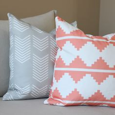 Image of AZTEC PILLOW COVER IN CORAL
