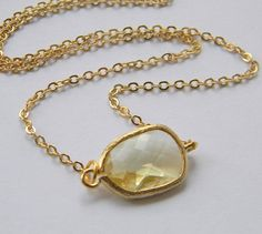 Gold Bridesmaid Necklace  Yellow Necklace  Bridal  by DanaCastle, $21.00