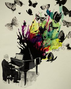 butterfly effect piano music art inspiration design illustration drawing painting « « Mayhem & Muse