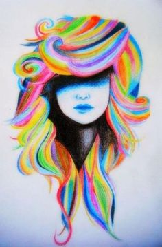 rainbow hair drawing This would make a bad ass tattoo