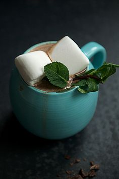 hot chocolate + mint