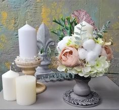 Artificial flowers arrangement in candleholder transformed with IOD moulds and ANNIE Sloan French Linen chalkpaint+clear wax&black wax