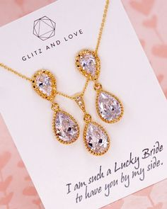 Gold Cubic Zirconia Teardrop Jewelry Set, Gold Earrings, Gold Necklace, Bridesmaid jewelry, Bridal shower gifts, gifts for her, wedding jewelry, simple, www.glitzandlove.com