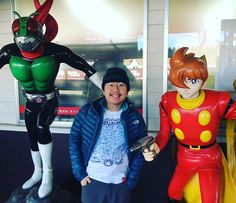 Our illustrator and his childhood heroes! We took our Cartoons Unite T-shirt on a trip to the Ishinomori Mangattan Museum in Japan, Kamen Rider and Joe Shimamura are on our T-Shirt :) . #WestostCartoonLovers #ishinomaki #cyborg #kamenrider #cyborg009 #cartoongear #manga #サイボーグゼロゼロナイン  #石ノ森章太郎 #仮面ライダー #漫画 #石巻市 #石ノ森萬画館 #kamenriderv3 #joeshimamura #島村ジョー