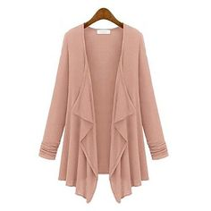 Women's Loose Plus Sizes Solid Color Long Sleeve Cardigan(More Colors) – USD $ 16.19