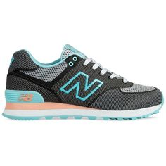 New Balance WL574 Sneakers featuring polyvore, fashion, shoes, sneakers, zapatillas, retro sneakers, bright shoes, round toe sneakers, lace up sneakers and heart shoes