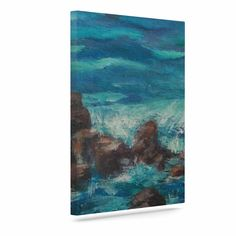"Cyndi Steen ""The Lighthouse Rocks"" Blue Painting Canvas Art"