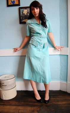 Vintage Late 1940s Pale Aqua Cotton Day Dress with Gray Striped Smocking Detail - Size Medium