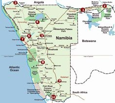 Map of campsites, Namibia