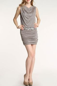 City Triangles  Megan Dress In Dark Taupe