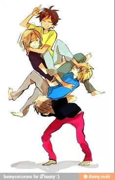 Hetalia Bad Touch Trio : Spain, France, Prussia, and their honorary member, England Piggy Back Ride, Bad Touch Trio, Aph England, Bad Friends, Hetalia Axis Powers, Tsundere, Mobile Wallpaper, Dankest Memes, Draw