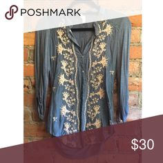 Anthropologie blouse Really pretty teal embroidered blouse (embroidery is a very light salmon color with metallic detail) size s but would also fit xs. Perfect condition Anthropologie Tops Blouses