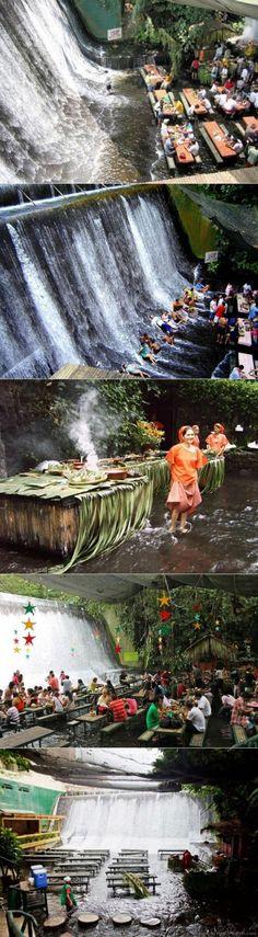 Villa Escudero Waterfalls Restaurant, in the Labasin River, San Pablo City, Philippines