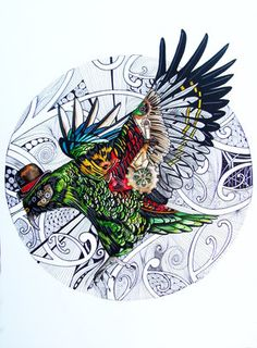 A combination of Steampunk, NZ designs and the beautiful Kea bird. The background took many many hours and incorporates lots of different zentangle patterns. Bird Drawings, Cartoon Drawings, Tui Bird, Steampunk Artwork, Altered Canvas, Maori Designs, Nz Art, Maori Art, Kiwiana