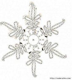 Crochet Snowflake Pattern, Crochet Poncho Patterns, Crochet Stars, Crochet Snowflakes, Thread Crochet, Crochet Diagram, Crochet Motif, Crochet Doilies, Crochet Flowers