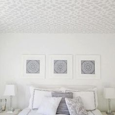 Stunning! I could lay here all day staring at this dreamy Zamira stenciled ceiling by Rebecca.