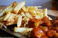 cookmania: Mal wieder: Currywurst mit überbackenen Pommes