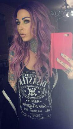 Kristen Leanne purple pastel hair tattoos nose piercing