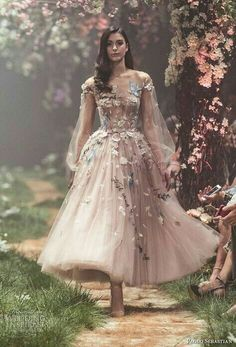 """Paolo Sebastian Spring 2018 Couture Collection — """"Once Upon A Dream"""" Sweeping ball gowns fit for princesses. Ethereal silhouettes hand-embroided with woodland scenes. Pretty dresses that will get you bursting into song. Paolo Sebastian Wedding Dress, Disney Wedding Dresses, Wedding Disney, Disney Weddings, Fairytale Weddings, Themed Weddings, Intimate Weddings, Fancy Dresses For Weddings, Floral Dress Wedding"""
