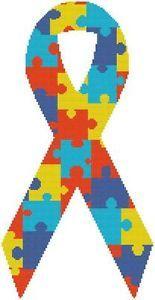 Cross Stitch Knit Crochet Plastic Canvas Waste Canvas Rug Hooking Pattern Autism Puzzle Awareness Ribbon Rainbow Colors  https://www.pinterest.com/resparkled/