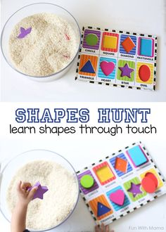 This preschool shapes activity is a perfect way to teach preschoolers and toddlers their shapes in a hands on way through their senses.