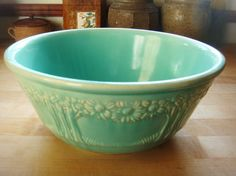 Vintage Turquoise Decorated Serving Bowl