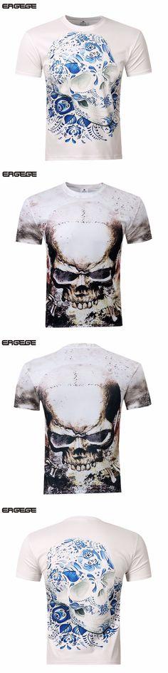 New Summer style men tops 3D short sleeve skull print T shirt loosehip hop style O-neck skull tees thirts M-4XL
