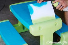 Little Tikes Picnic Table Makeover from worn down to brand new!