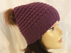 hat with faux fur pom pom,slouch,beanie,hat,hand crochet,made to fit teen and adults,purple with faux fur pom pom by Jeniebugs on Etsy
