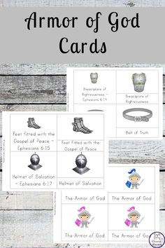 FREE Printable Armor of God Cards - Simple Living. Devotions For Kids, Bible Crafts For Kids, Bible Study For Kids, Bible Lessons For Kids, Kids Bible, Armor Of God Lesson, Bible Teachings, Sunday School Lessons, Kids Church