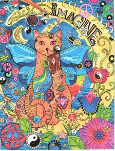 Colored by Nikki Wilson (my daughter) from Creative Haven's Creative Cats coloring book.