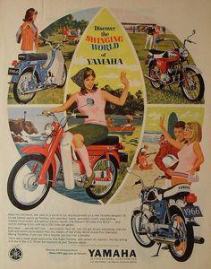 1966 YAMAHA Motorcycle Vintage Advertisement Illustration by Christian Montone Vintage Bikes, Vintage Motorcycles, Vintage Ads, Vintage Advertisements, Vintage Ephemera, Vintage Dress, Motorcycle Posters, Motorcycle Art, Bike Art