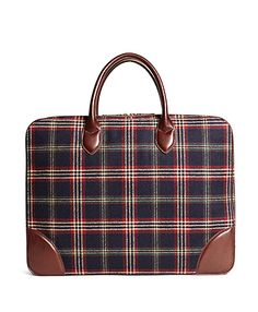 Brooks Brothers Men's Signature Tartan Briefcase
