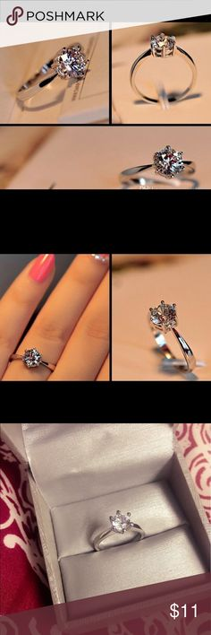 Clearance!!! New White gold plated ring Brand new ring  White gold plated  Guaranteed great quality  Size -7 Jewelry Rings