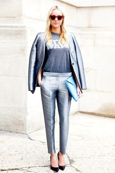 a fave styling trick of @emilyandmeritt is adding a graphic tee to otherwise dressier looks! Styling Tip #1: Tuck it in! #2: Sport it up! #3: Coolify your suit! see post here: http://www.whowhatwear.com/ask-a-stylist-how-should-i-style-my-lovegraphic-t-shirt