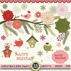 Christmas Clipart  CHRISTMAS BIRD FLORAL clip art by SAClipArt