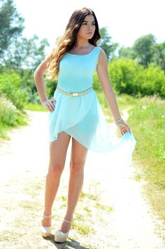 Blue Asymetric Dress from rosalieeve.blogspot.fr