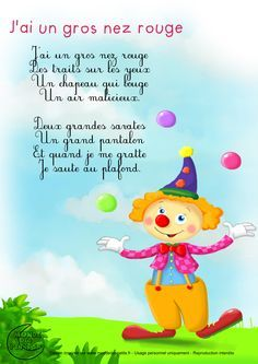 Paroles_J'ai un gros nez rouge French Poems, French Nursery, Material Didático, French Resources, French Language Learning, French Lessons, Teaching French, Kids Songs, Learn French