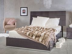Scandinavian Designs - Enjoy true Italian design and craftsmanship with our Mondiana collection. The bed features sleek modern lines. Expertly crafted in a unique gray koto veneer with a protective high gloss, lacquer finish. Now take 25% off mattresses with the purchase of any regularly priced bed.
